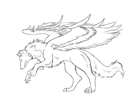Flying Wolf Coloring Page | winged wolf lineart grey by bolthound on deviantart
