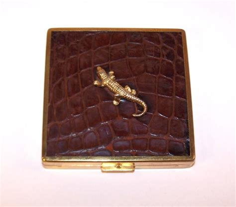 Jual Pouch Gucci Brown Canvas Mirror Quality alligators abound 1950 s ciner leather covered powder