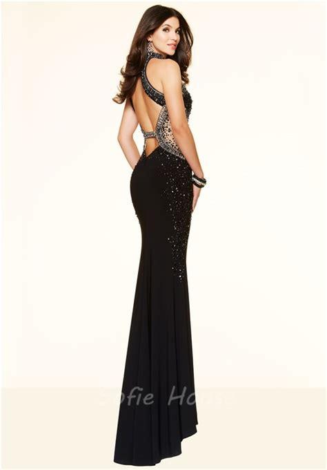Black Slim Dress slim mermaid high neck open back black beaded evening