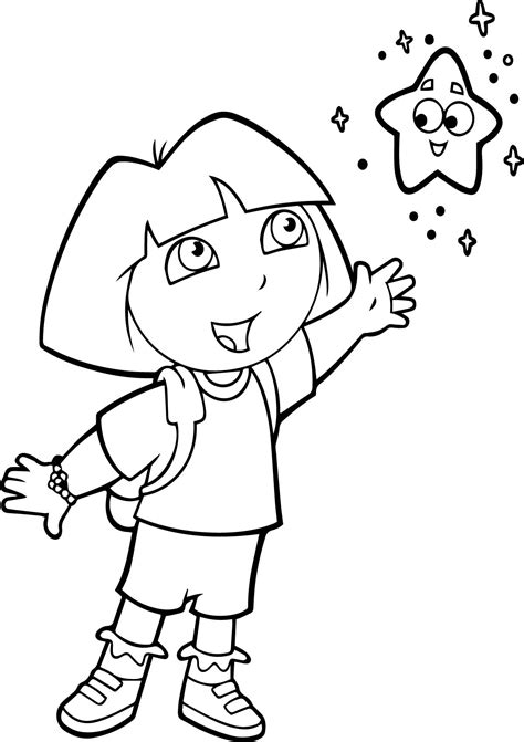 dora star coloring pages dora with the little star coloring page wecoloringpage