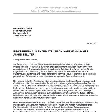 Bewerbung Anschreiben Muster Pka bewerbung als pharmazeutisch kaufm 228 nnischer angestellter