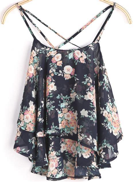 Womens Stylish Black Floral Chiffon Vest black spaghetti floral chiffon cami top shein sheinside
