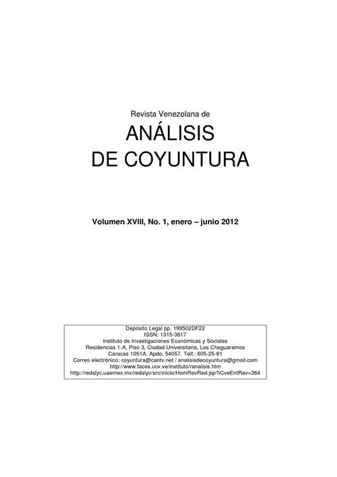 calameo vol 13 no 2 enero 2012 revista venezolana de an 225 lisis de coyuntura vol 250 men xviii