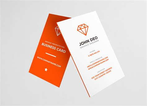 Free Vertical Business Card Template Psd by Free Vertical Business Card Mockup Psd Mockups