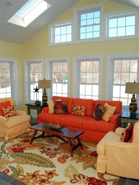 country living room rugs yellow country living room with orange sofa hgtv