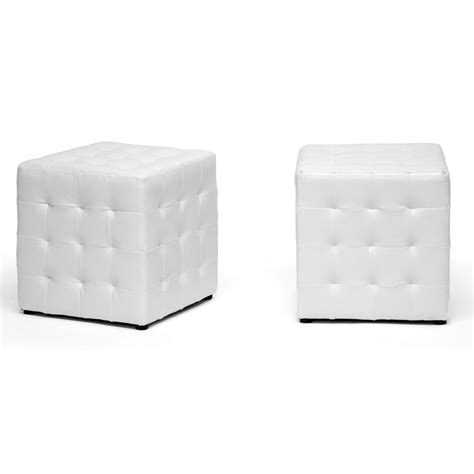 White Leather Cube Ottoman Baxton Studio Siskal White Modern Cube Ottoman Living Room Furniture Affordable Modern