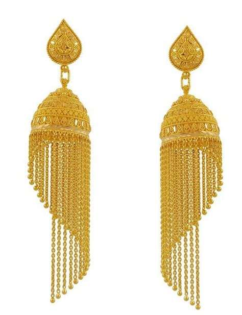 22k gold earrings designs 22k gold fancy jhumka earring for meenajewelers indian