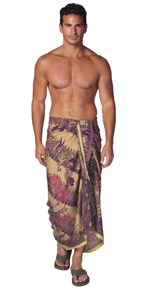 Batik Parang Purple mens sarong with traditional motif purple parang rusak
