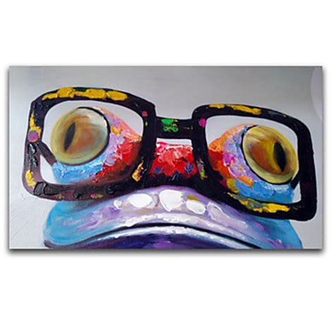 fashion animal framed painting with acrylic glass ready to hang wall art prints with wooden cute cartoon frog face wear big glass colorful acrylic oil
