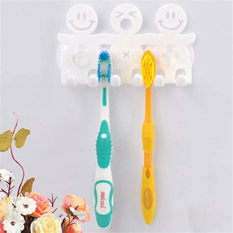 cartoon bathroom sets cute design smile suction hooks 5 position tooth brush