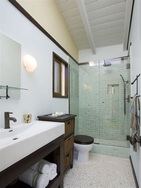 Modern Narrow Bathroom Design White Transitional Bathroom With A Pebble Tile Floor Hgtv