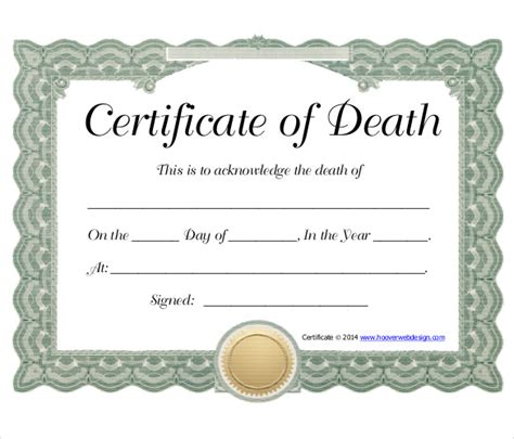 death certificate templates death certificate template for