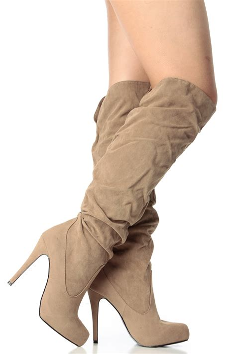 suede knee high platform high heel boots cicihot boots catalogwomen sand faux suede knee high platform high heel boots