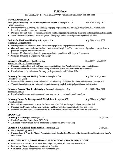 Clinical Psychologist Resume by Resume Exle For Psychologist