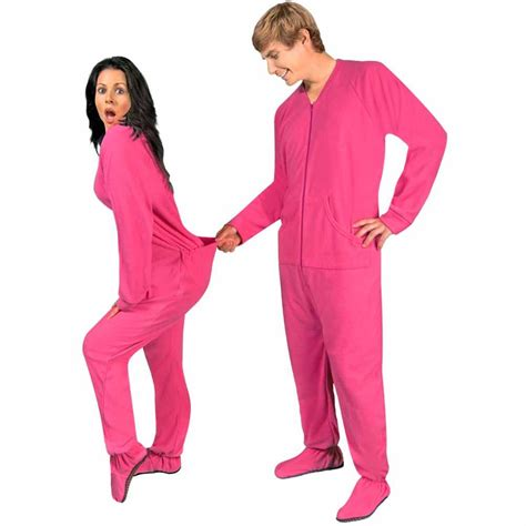 pink fleece footed pajamas with drop seat limited sizes pajama city