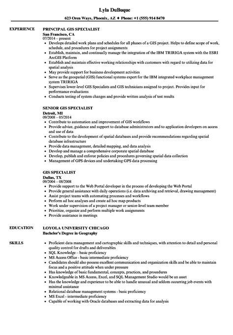 gis resume format gis specialist resume sles velvet
