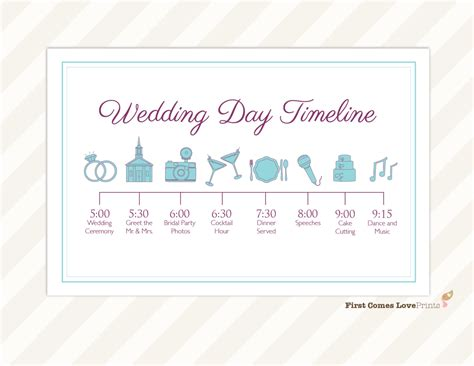 Wedding Day Timeline Card Itinerary For Guests Big Day Wedding Event Template