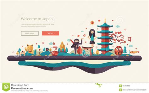 design banner travel flat design banner header travel illustration with asian