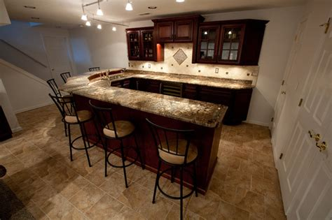 Small Kitchen Idea by Basement Bar With Fire Bordeaux Granite Contemporary