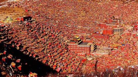 The China larung gar the tibetan monastery turned town placeaholic