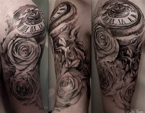 pocket watch with roses tattoo bird clockwork half sleeve pocket roses vines