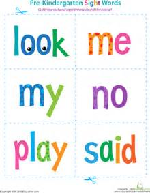 pre kindergarten sight words look to said worksheet