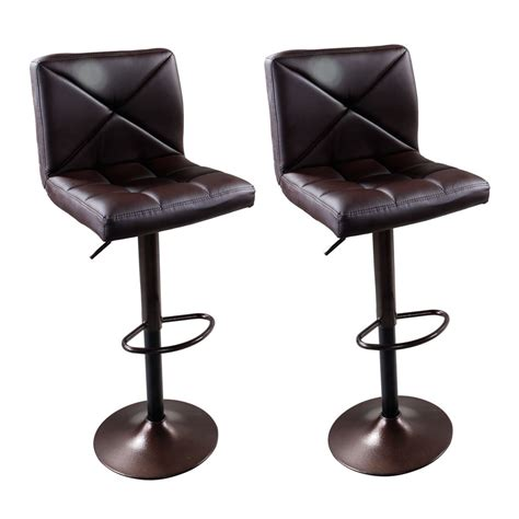 Hydraulic Bar Stool Parts by Set Of 2 Brown Pu Leather Modern Adjustable Swivel