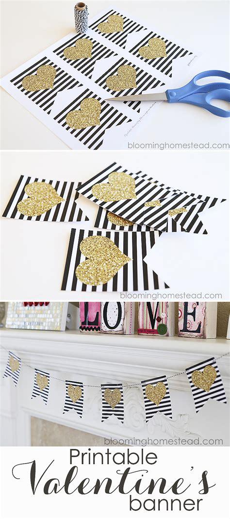 printable valentine banner heart banner printable blooming homestead