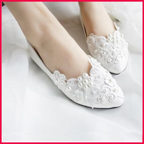 flat white shoes for wedding 2015 new size 35 40 pearl lace shoes flats