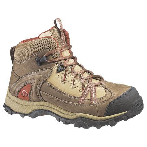 wolverine maggie mids steel toe work shoes brown