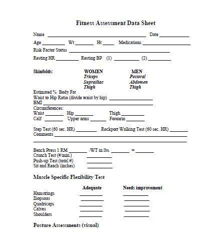 client assessment form template client evaluation form fitness fitness