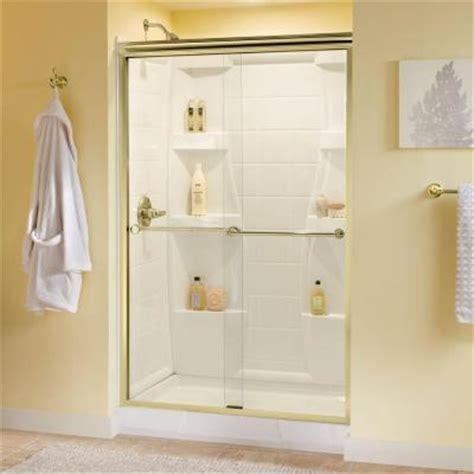 Delta Shower Door Delta Crestfield 47 3 8 In X 70 In Sliding Shower Door In Polished Brass With Semi Framed