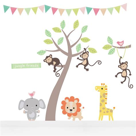 animal stickers for walls pastel jungle animal wall stickers wall sticker nursery