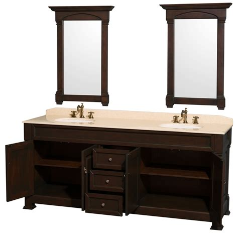 80 Inch Bathroom Vanity Andover 80 Inch Traditional Bathroom Vanity Set Cherry Finish