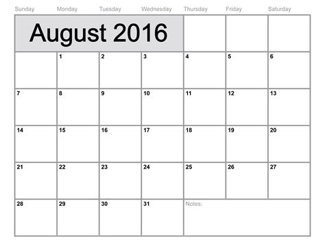 2016 Calendar August August 2016 Calendar Printable Template 6 Templates