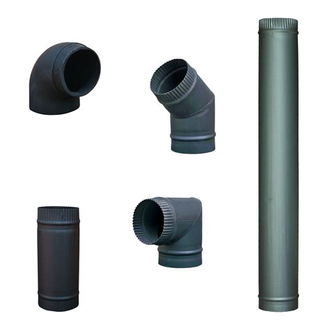 fireplace stove pipe steel matt black chimney flue pipes 5 quot 6 quot for multifuel