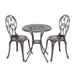Aluminum Bistro Chairs Patio Sense Arria Antique Bronze 3 Cast Aluminum Patio Bistro Set 61490 The Home Depot