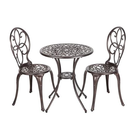 Vintage Bistro Table And Chairs Patio Sense Arria Antique Bronze 3 Cast Aluminum Patio Bistro Set Shop Your Way