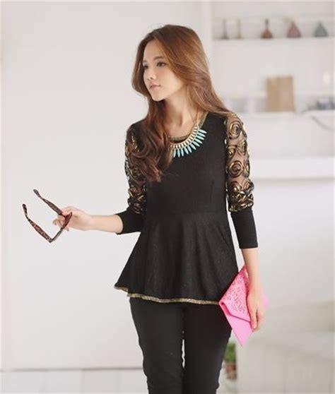 Baju Wanita Blouse Hitam Brokat 1 blouse korea wanita brokat cantik model terbaru jual