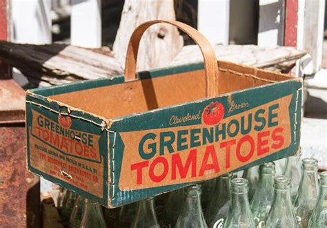 Rustic Primitive Home Decor Vibtage Cleavland Grown Greenhouse Tomatoes Box Farmhouse
