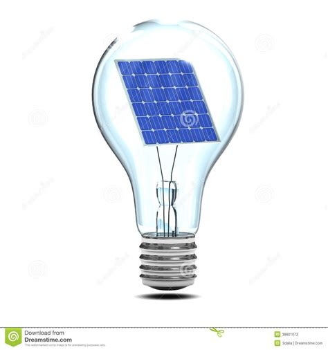 3d Solar Light Bulb Stock Illustration Image Of Panel Solar Panel Light Bulb