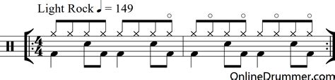 drum upbeat pattern hi hat technique from sultans of swing onlinedrummer com