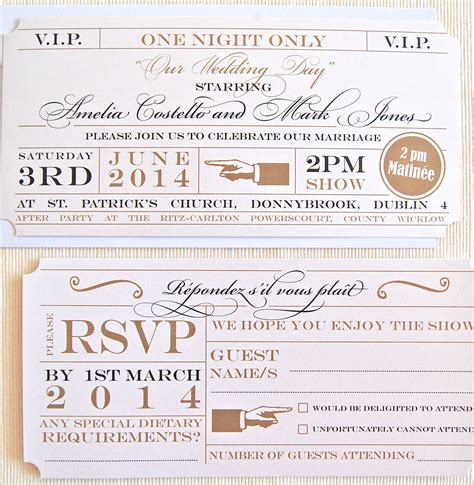 unique wedding invitations theatre ticket wedding invitation