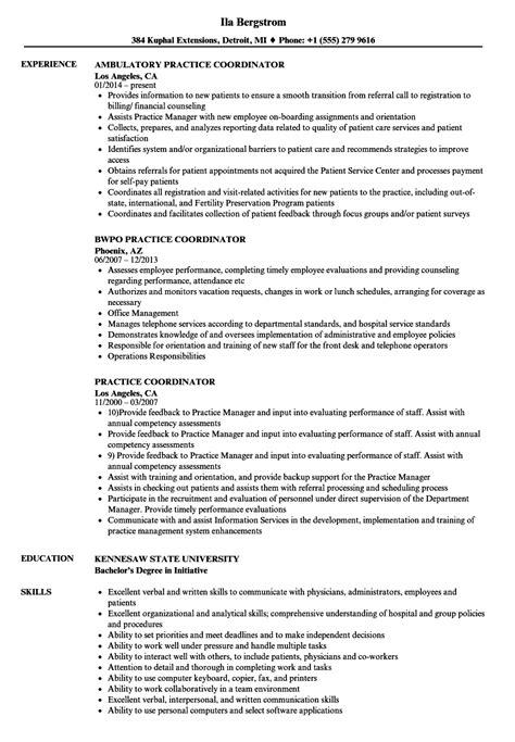 Practice Resume by Practice Coordinator Resume Sles Velvet