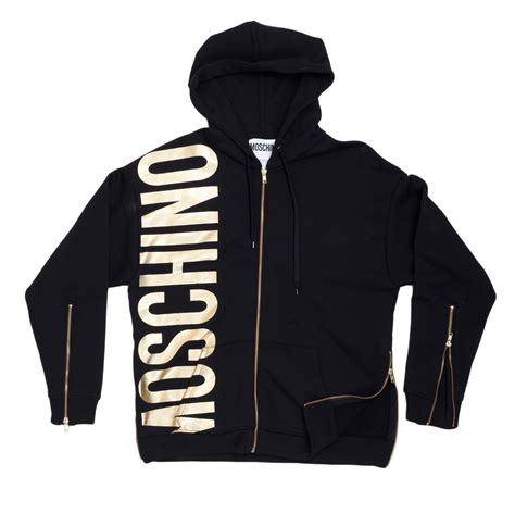 Moschino Sweatshirt mens gold text logo hooded sweatshirts by moschino