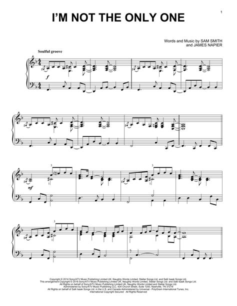 i m not the only one sheet music by sam smith piano i m not the only one sheet music direct