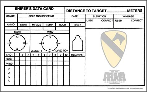 Usmc Range Card Template by Data Book Sniper Range Card Printable Sketch Coloring Page