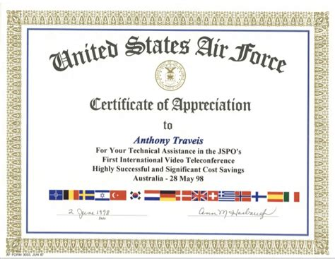 tony traveis usaf certificate of appreciation
