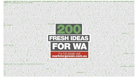 9 Ideas For Doing Nothing by Labor Announces 200 Fresh Ideas For Wa Well Mostly