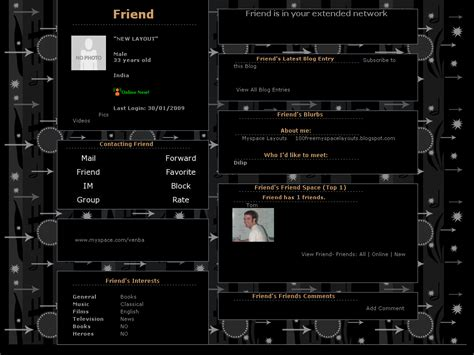 free layout coder black default layouts for myspace collection of free